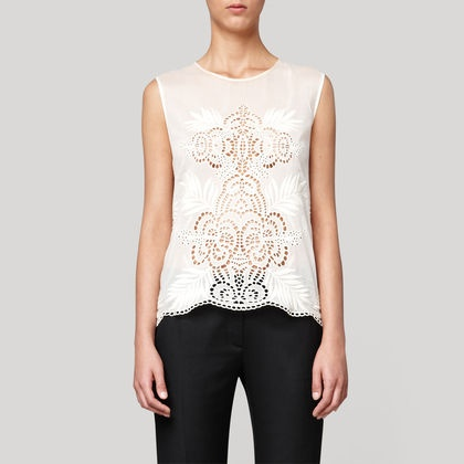 Check out the deal on Off White Broiderie Anglais Sleeveless Top at Eco First Art
