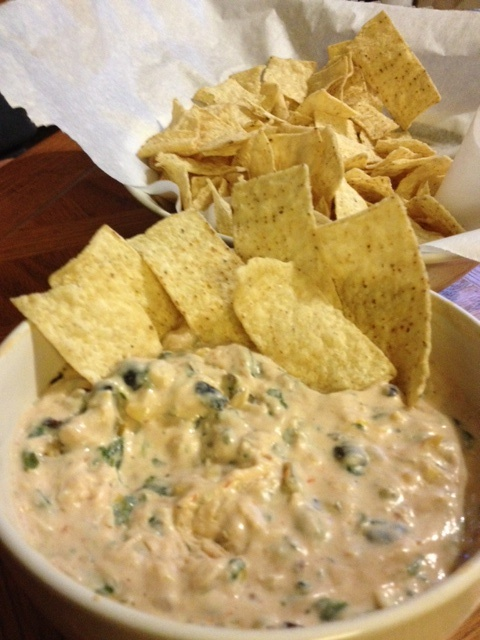 Quesedilla Dip- shredded cooked chicken, corn, black beans, spinach ...