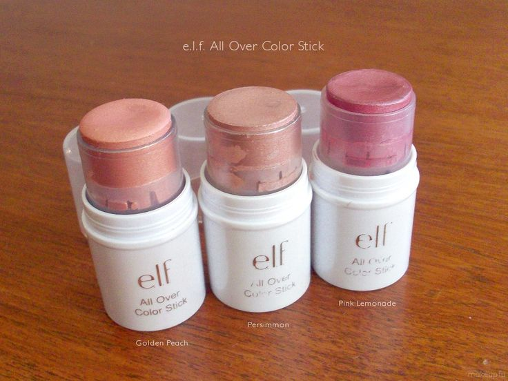 e.l.f. all over color sticks. What do you know! This isn't my image, but these are the three colors I have. These are wonderful. Blush, glow, stamina, and a versatile product, all in one. Not to mention, e.l.f. products are maybe 8 times out of 10 awesome, and 10 times out of 10 SOOO inexpensive!
