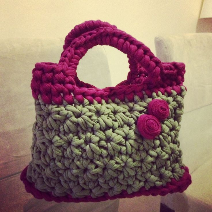 Bolsos de trapillo bolso de mano trapillo for Bolsos de crochet de trapillo