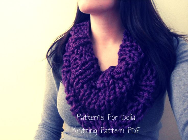 Easy Infinity Scarf Knitting Patterns For Beginners : Reversible Infinity Cowl KNITTING PATTERN easy beginner intermediate