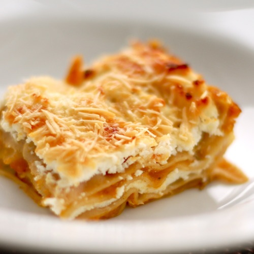 Butternut Squash Lasagna: use zucchini in replace of lasagna noodles