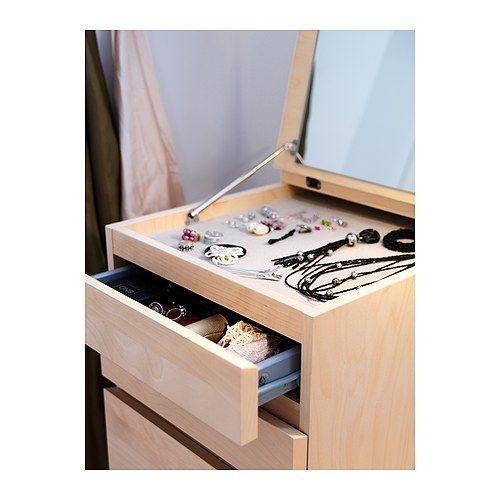 Malm 6 drawer chest birch veneer mirror glass for Espejos de pared ikea