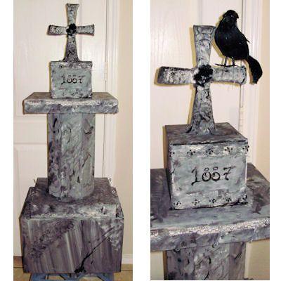 Diy cardboard tombstone for halloween halloween for Cardboard halloween decorations diy