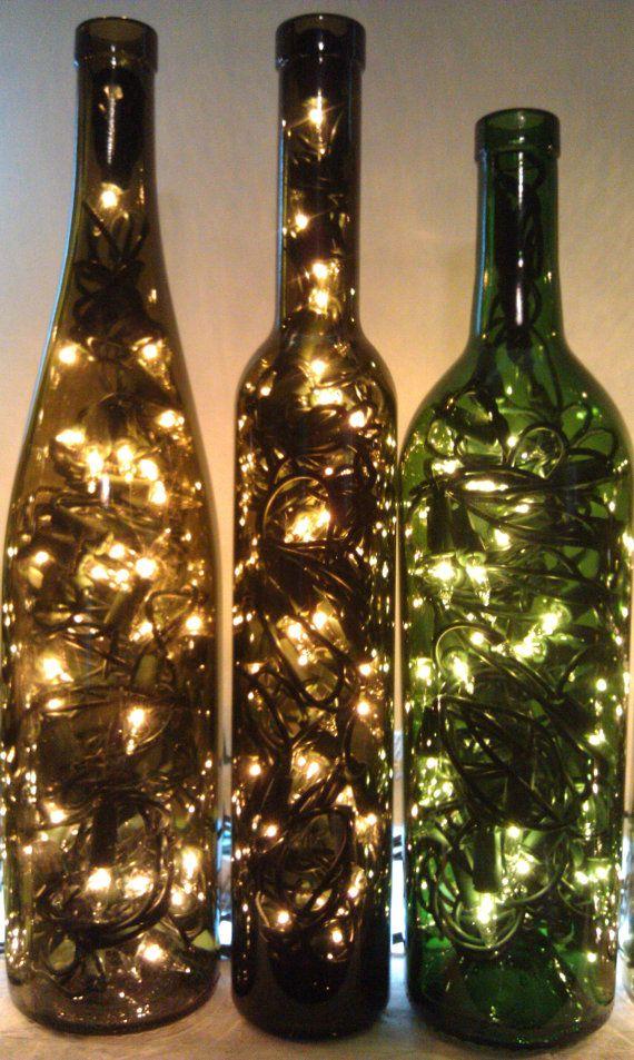 Recycled wine bottle light for How to make wine bottle lights