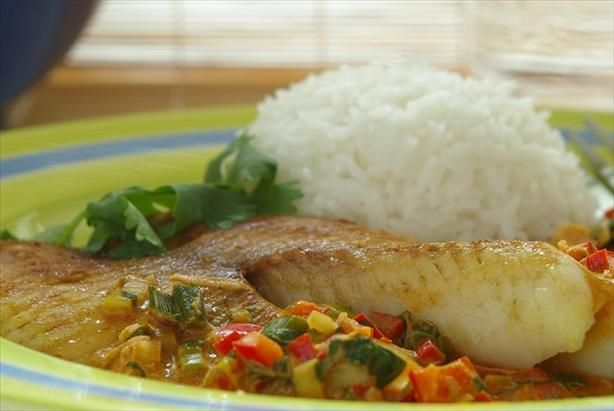 Broiled Tilapia With Thai Coconut- Curry Sauce, this is similar to my ...