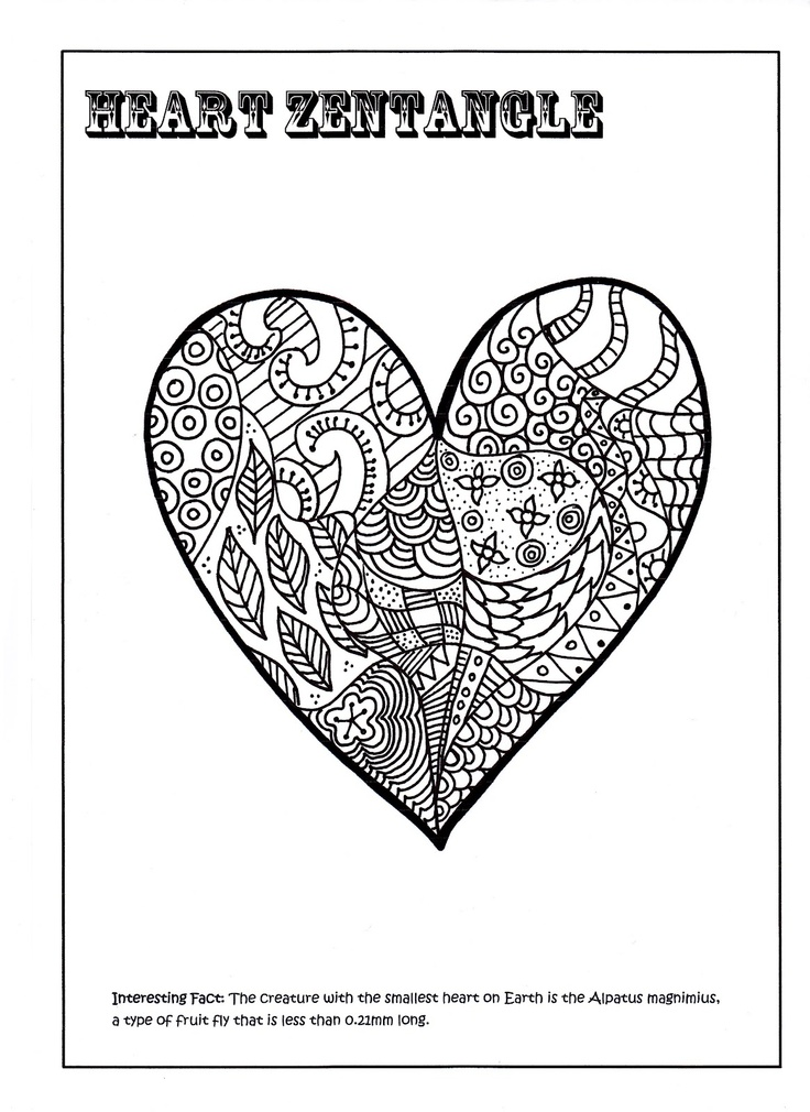 heart zentangle coloring pages - photo#27