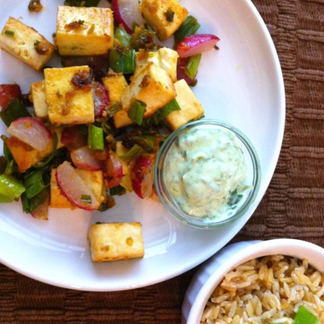 Tofu marinated in chili paste, sunflower oil, extra crushed garlic ...