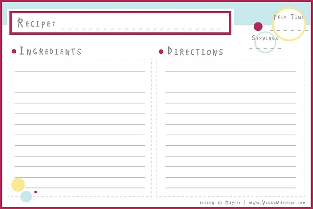 Individual 4x6 Recipe Card Template Images - Frompo