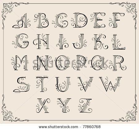 Calligraphic Swirly Alphabet Typography Hand Lettering