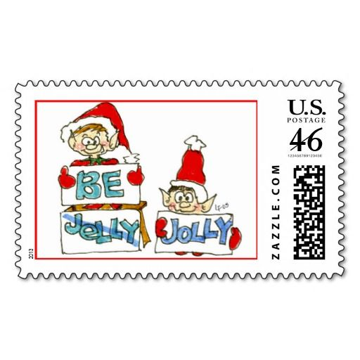 Christmas Cartoon Holiday Elf Postage Stamp: pinterest.com/pin/147774431496653683