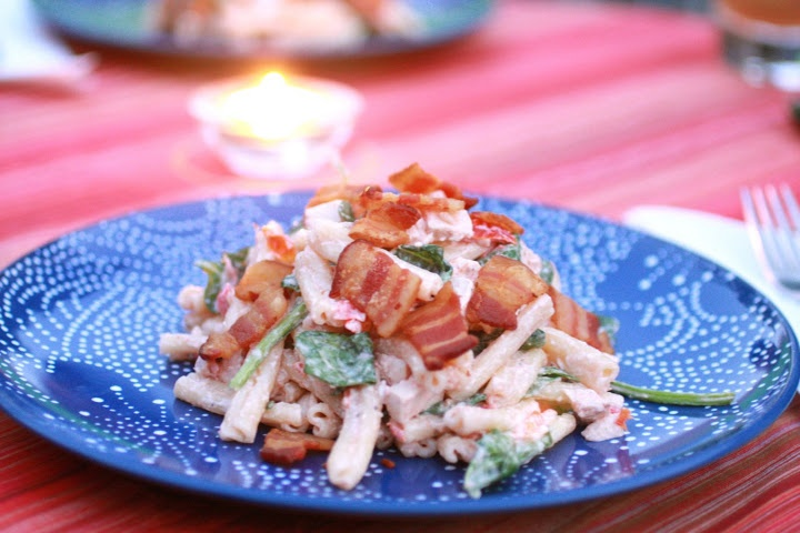 Chicken Gorgonzola Pasta Salad with Bacon | Onions and Chocolate