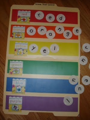 Colors and Spelling file folder game