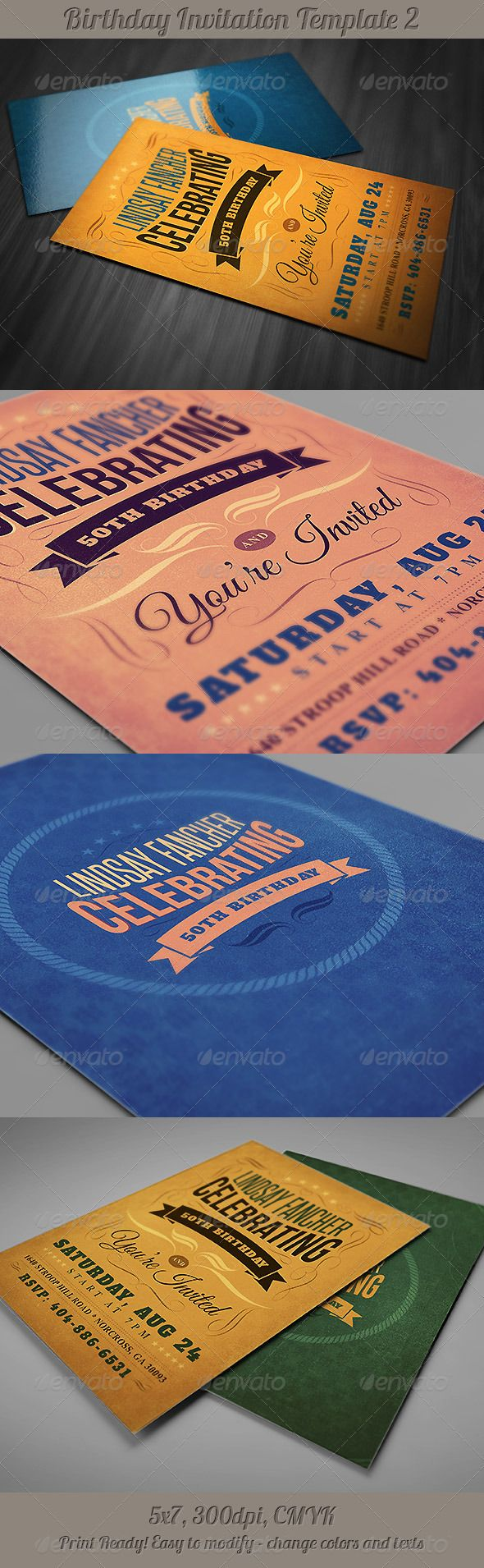 Retro Birthday Invitation 2 - Invitations Cards & Invites