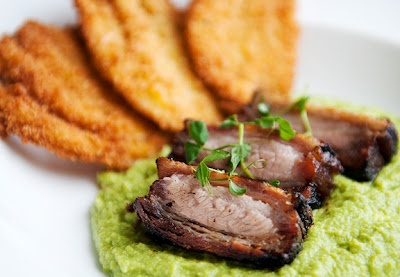 Roast Pork Belly on Pea Purée | recipes | Pinterest