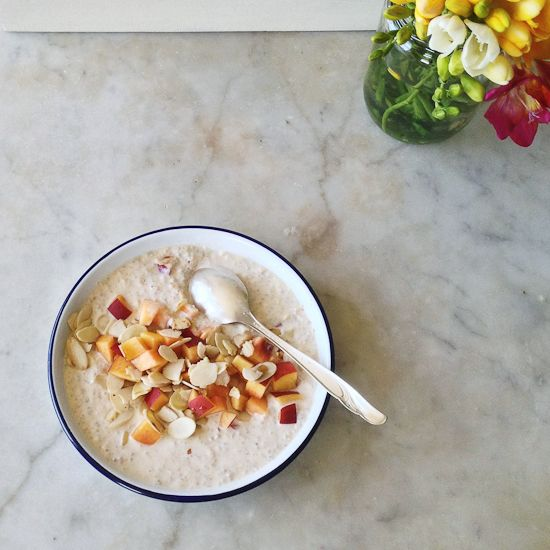 morning coconut and nectarine bircher | food and recipes | Pinterest