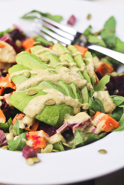Roasted Beet and Sweet Potato Salad w Avocado (and an Amazing ...