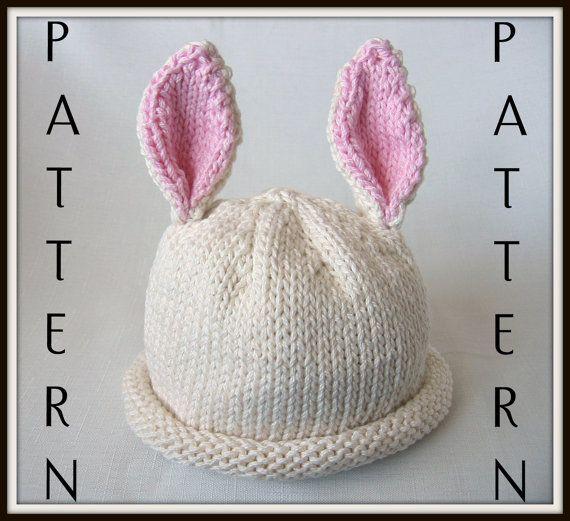Knitting Pattern Rabbit Ears : Boston beanies baby bunny hat pattern knit by