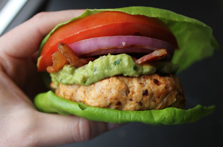 Lettuce-Wrapped Chipotle Turkey Burgers with Guacamole. A no-carb ...