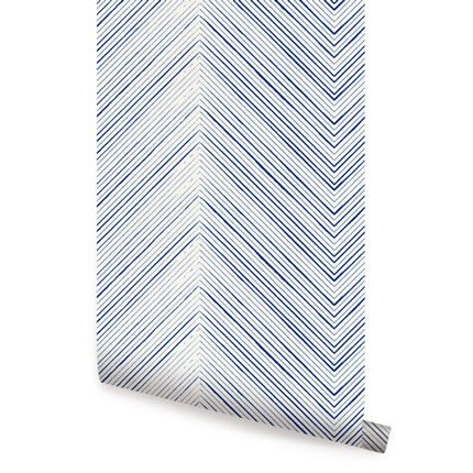 Chevron Lines Navy Peel & Stick Fabric Wallpaper Repositionable - Simple Shapes Wall Decals, Furniture, and Accessories