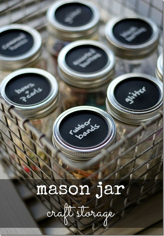 Mason Jar Craft Storage with Chalkboard Paint Lids. Desk - pushpins, stamps, paper clips, binder clips, rubber bands (smaller jars)