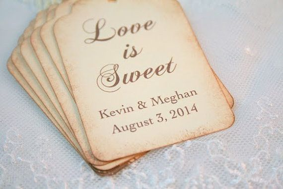 Love is Sweet Tags Personalized Wedding Favor Tags - Name and Date