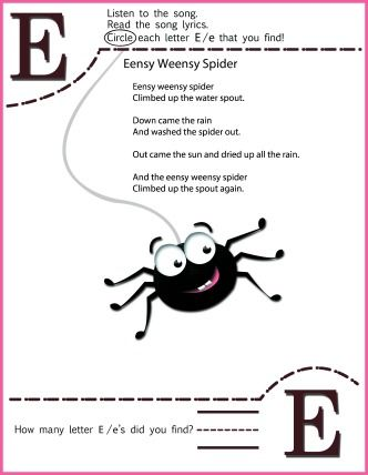 Circle The Letter E Worksheetand Eensy Weensy Spider Song for Kids