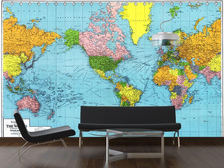 vintage 1942 map of the world wall mural map decor pinterest. Black Bedroom Furniture Sets. Home Design Ideas