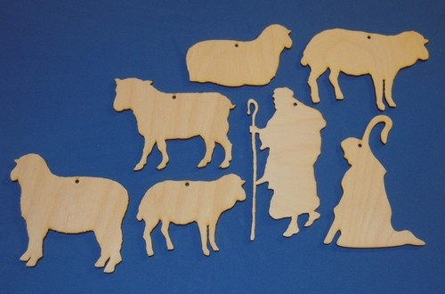 Nativity Manger Scenes Unfinished Flat Wood Ornament Shapes Cut Outs ...
