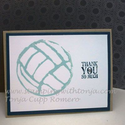 Volleyball stamp carved by Tonja Romero