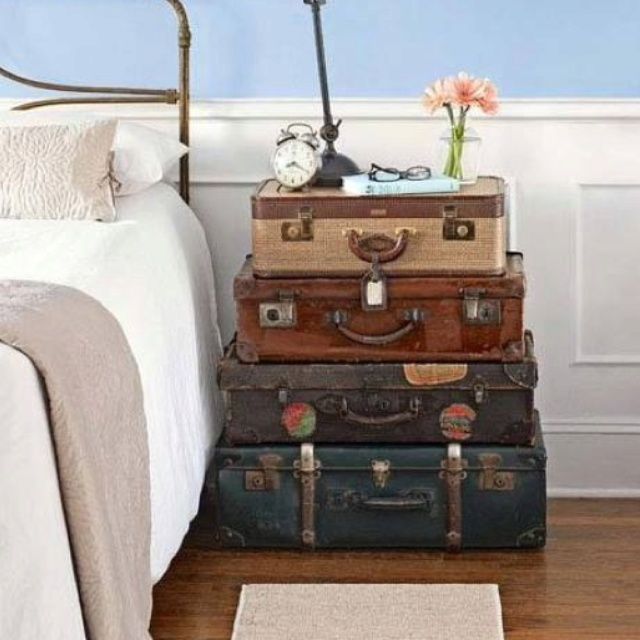 Suitcase nightstand!  For the Home  Pinterest