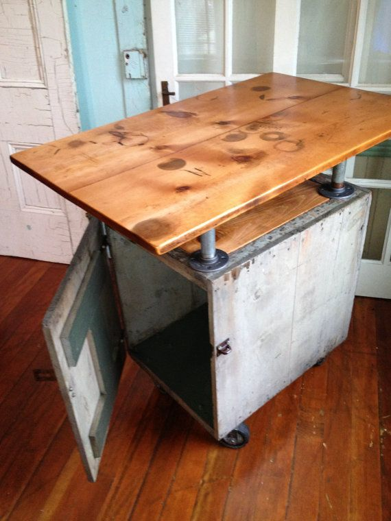Reclaimed Wood Industrial Kitchen Island On Casters Bar Galvanized