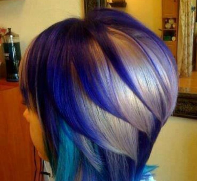 Turquoise And Purple Highlights Blue, turquoise, blinde