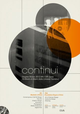 Poster design for the University of Cumbria's summer design exhibition, Continui by Gary Nicholson.