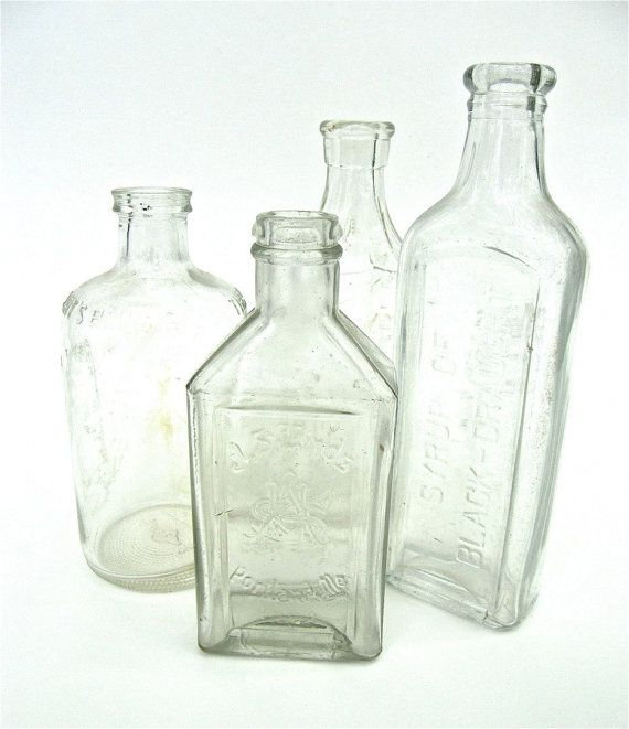 Antique Bottles Clear Glass Instant Collection by worldvintage