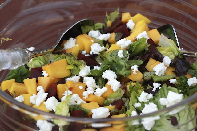 beet and mango salad with goat cheese | salads | Pinterest