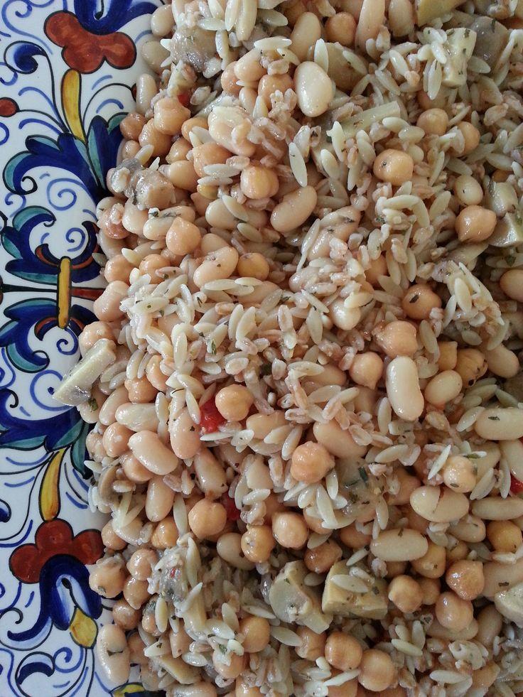 Bean Salad with Farro & Orzo using DeLallo Italian Garlic Mushrooms ...