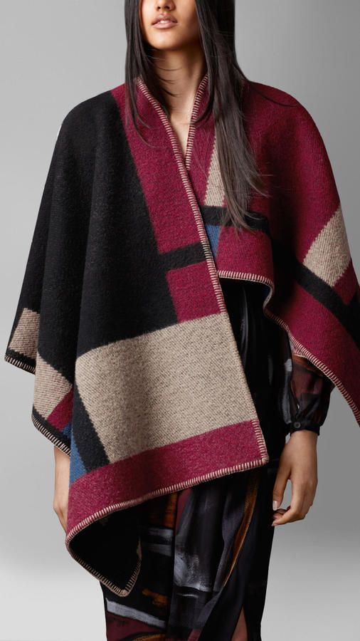 Burgundy Colour Block Check Blanket Poncho