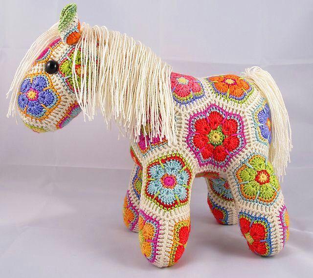 African flower horse crochet toy Pinterest