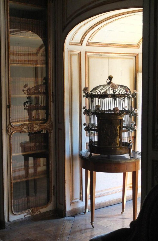 Dans la bibliothèque de Madame Du Barry @ChateaudeVersailles, une cage décorée de fleurs de porcelaine de Meissen