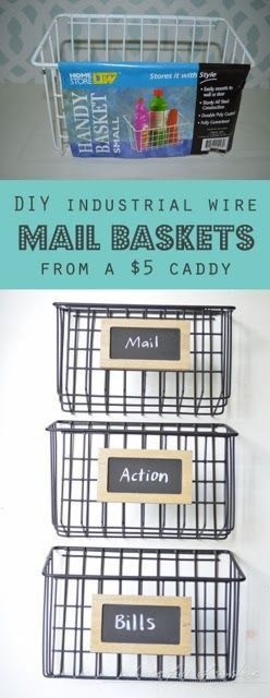 DIY industrial wire baskets - how great would these be over a changing table to hold diaper supplies?! #nursery #DIY