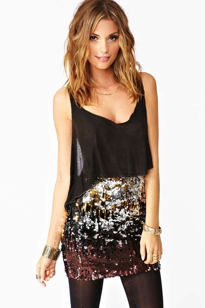 Dripping In Sequins Skirt - hair and outfit
