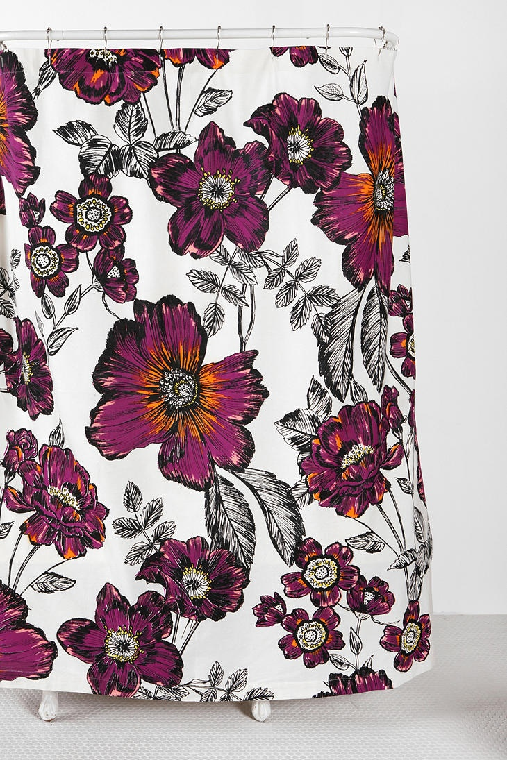 Sketch Flower Shower Curtain  #UrbanOutfitters