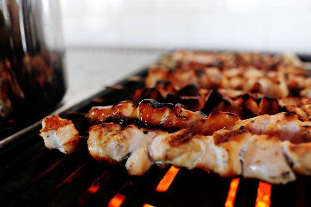Maple Glazed Chicken Kabobs with Sweet Jalapeno Salsa   Recipe
