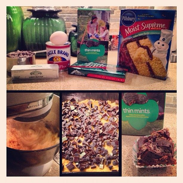 Get creative with your Thin Mints! Thin Mint Gooey Cake bars