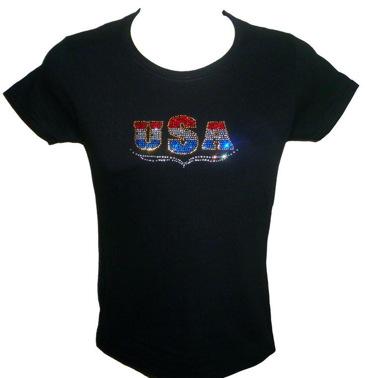 Usa Rhinestone T Shirt