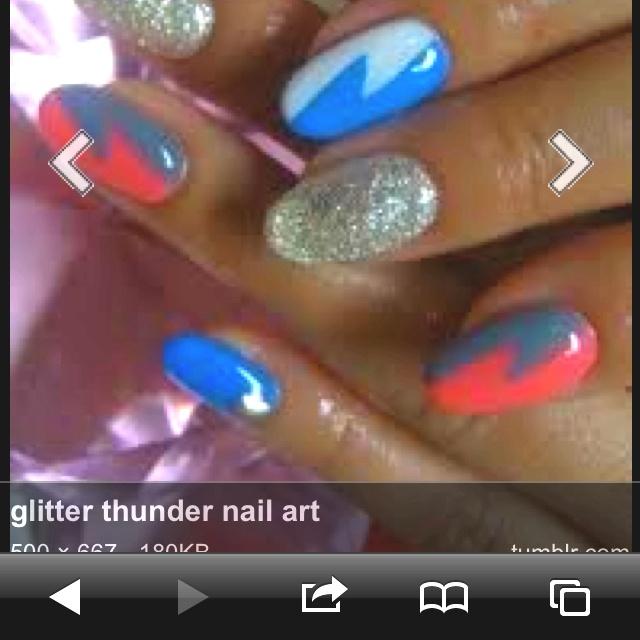 OKC Thunder Nails! ⚡ | Beauty And Huur | Pinterest