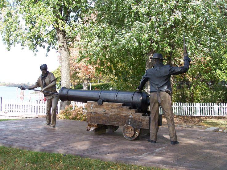 Historical statue in navy yard park amherstburg ontario canada