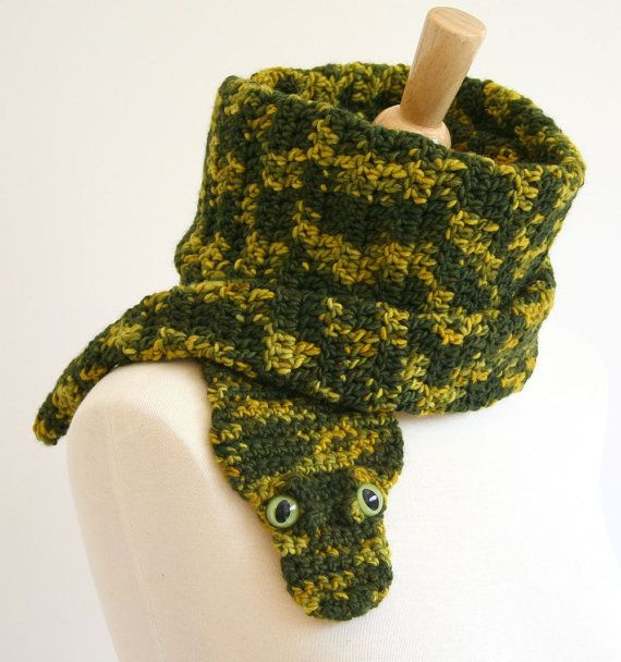 PDF Crochet Pattern for Snake Scarf - Animal Reptile Woodland DIY Fashion Tutorial Winter Fall Autumn