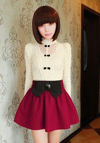 Korean Fashion Bow Lotus Leaves Woolen Skirt
